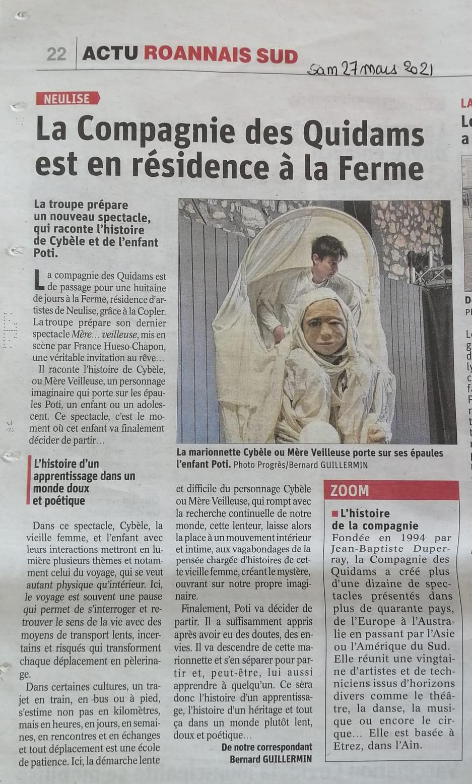 article Le Progrès Mère Veilleuse Neulise