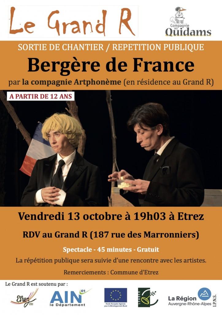 Affiche répétition publique Bergère de France Artphonème